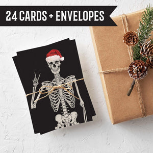 Skeleton Christmas Cards Peace Signs - 24 Pack