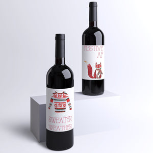 Cute Christmas Wine Labels - 4 Pack