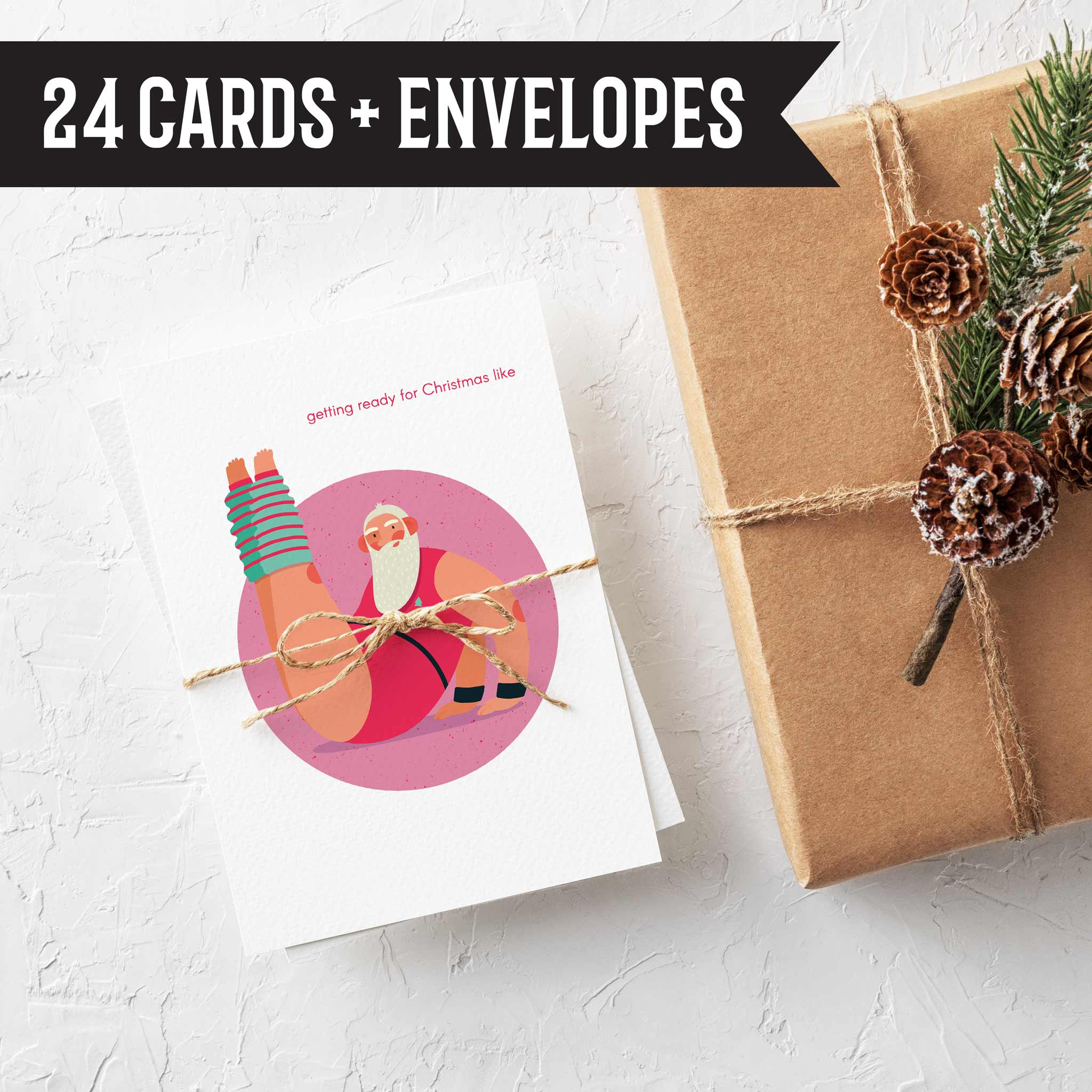 Yoga Fitness Santa Christmas Cards 24 Pack Sporty Santa Holiday Cards Ritzy Rose