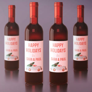 Custom Happy Holidays From Business Wine Labels - 4 Pack