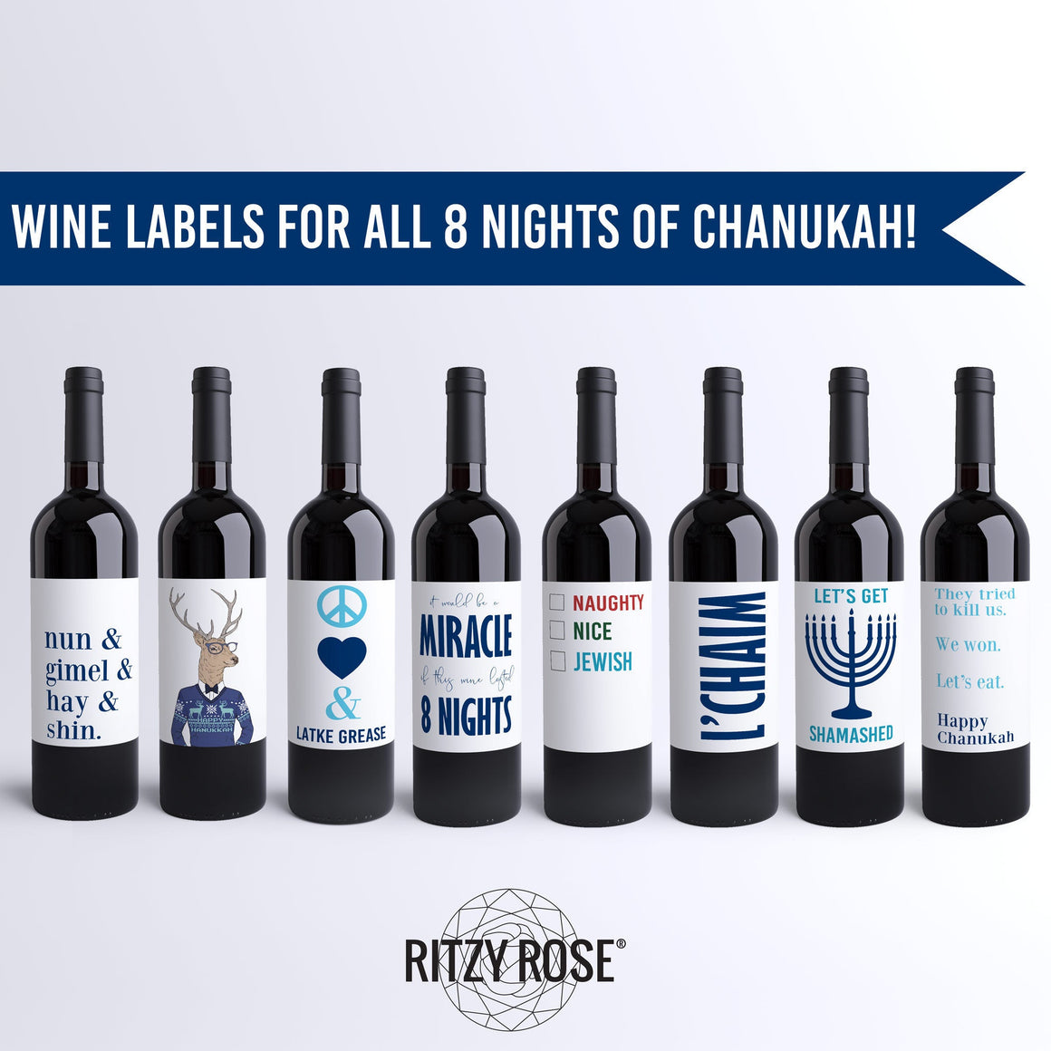 Funny Hanukkah Wine Labels - 8 Pack