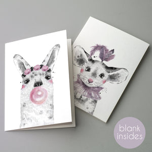 Baby Animal Blank Greeting Cards - 24 Pack