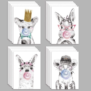 Baby Animal Bubble Gum Blank Greeting Cards - 24 Pack