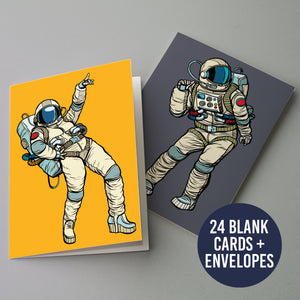 Dancing Astronaut Greeting Cards - 24 Pack