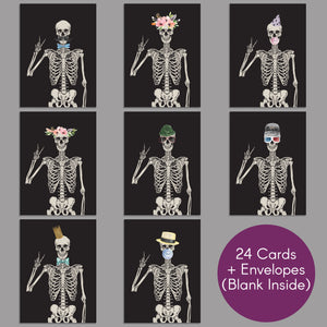 Skeleton Blank Greeting Cards - 24 Pack