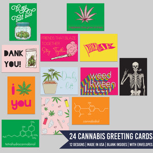 Cannabis Doodles Greeting Cards - 24 Pack