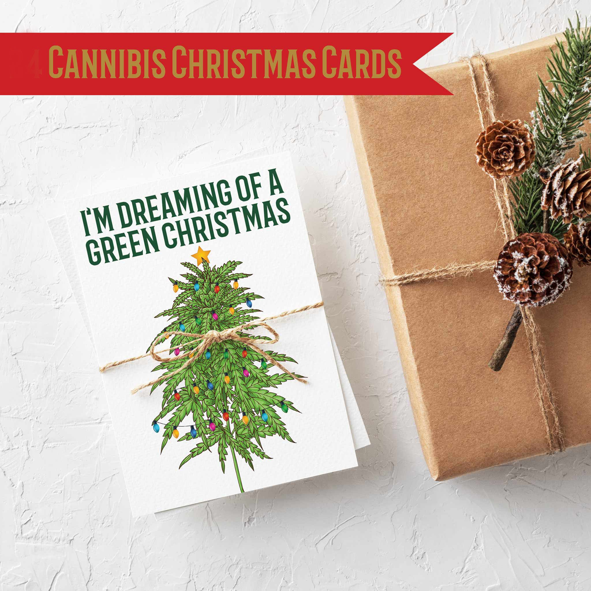 cannabis themed christmas cards 24 count for marijuana weed culture ritzy rose cannabis themed christmas cards 24 pack