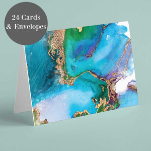 Watercolor & Gold Blank Greeting Cards - 24 Pack