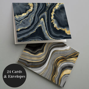 Agate Black & Gold Blank Greeting Cards - 24 Pack