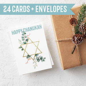 Happy Chanukah Cards - 24 Pack