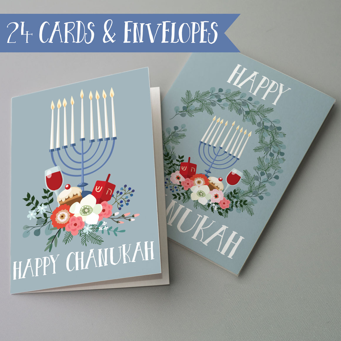 Chanukah Cards Menorah - 24 Pack