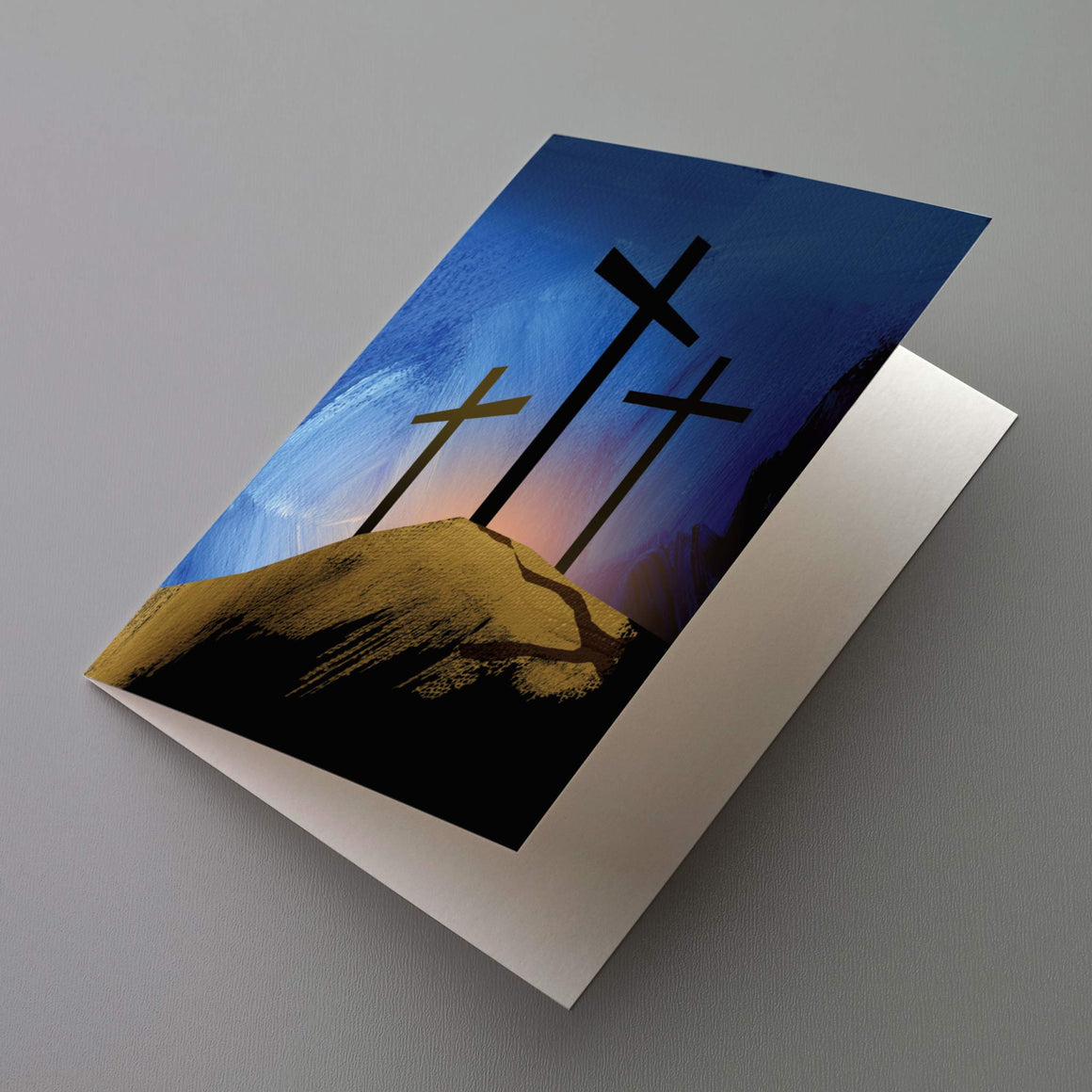 Three Crosses Blank Greeting Cards - 12 Pack