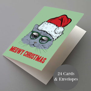 Meowy Christmas Cat Lover Cards - 24 Pack