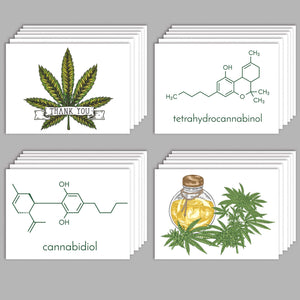 Cannabis Greeting Cards Chemical Composition & Leaves - 24 Pack