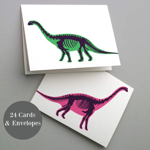 Dinosaur Blank Greeting Cards - 24 Pack