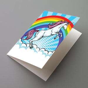 Rainbow Unicorn Blank Greeting Cards - 12 Pack