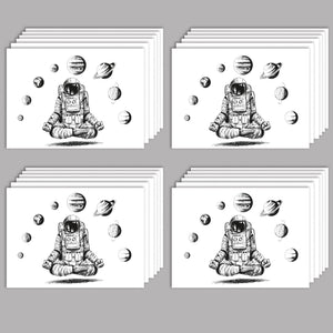 Meditating Astronaut Greeting Cards - 24 Pack