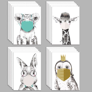 Face Mask Quarantine Animals Greeting Cards - 24 Pack