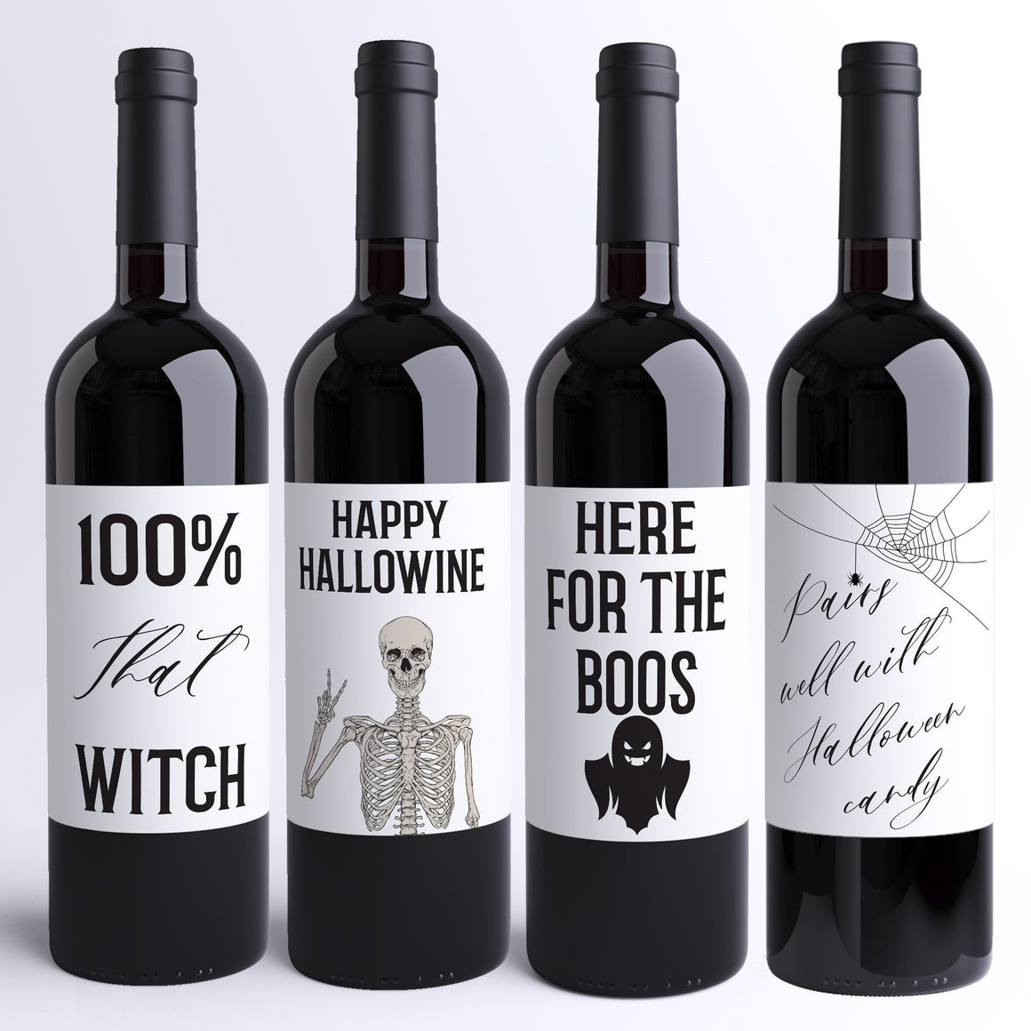 Four Funny Halloween Wine Labels - 4 Stickers Funny Halloween Party Decor Here For Boos That Witch Hallowine Pairs Well With Candy 9280