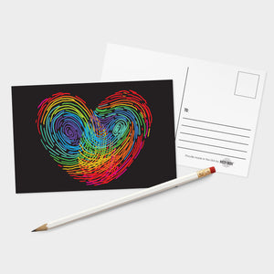 Rainbow Thumbprint Heart Postcards - 32 Pack