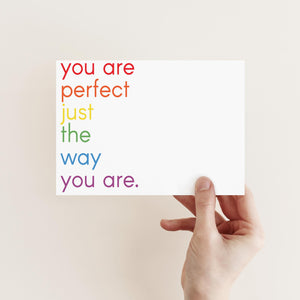 Perfect Just The Way You Are Rainbow Gay Pride Postcards - 32 Pack