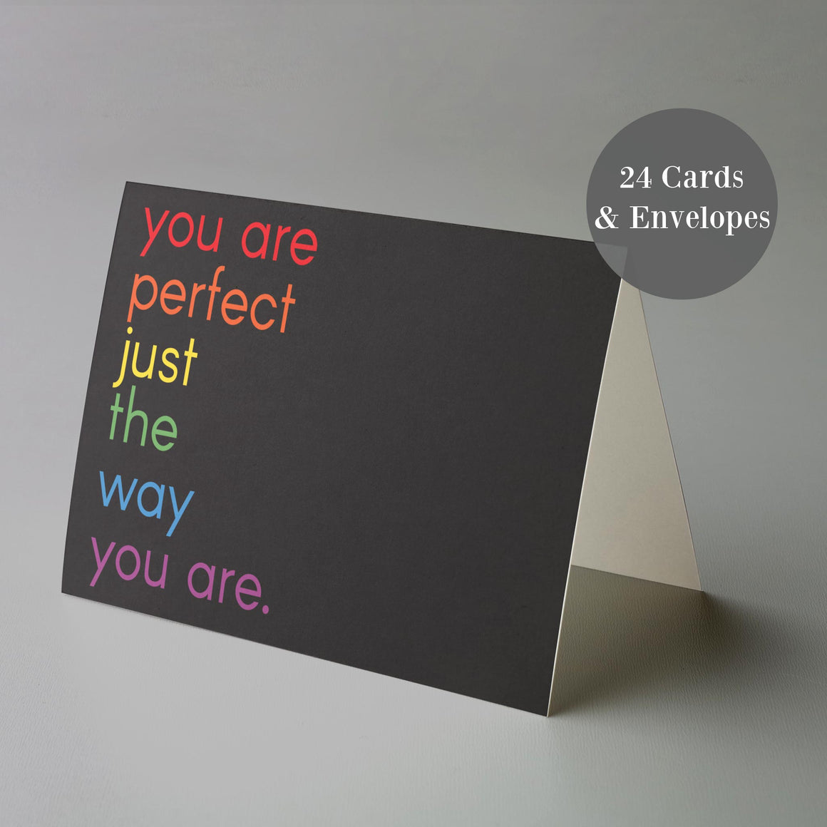 Perfect The Way You Are Black Rainbow Pride Cards - 24 Pack
