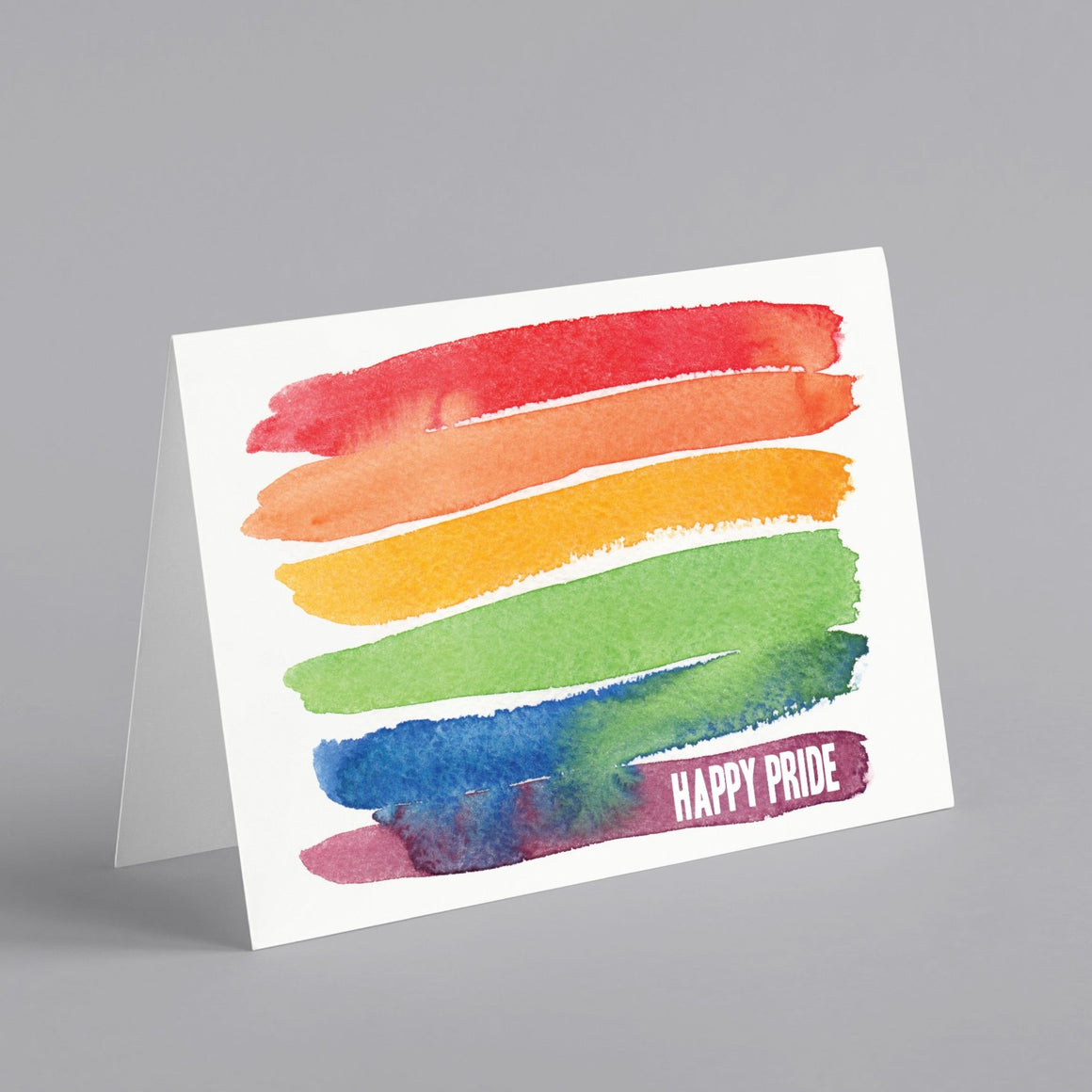 Watercolor Rainbow Happy Gay Pride Cards - 24 Pack