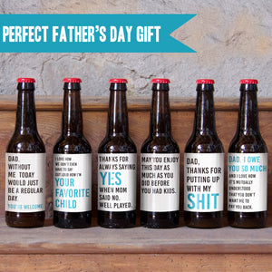 Father's Day Beer Labels for Dad - 6 Pack
