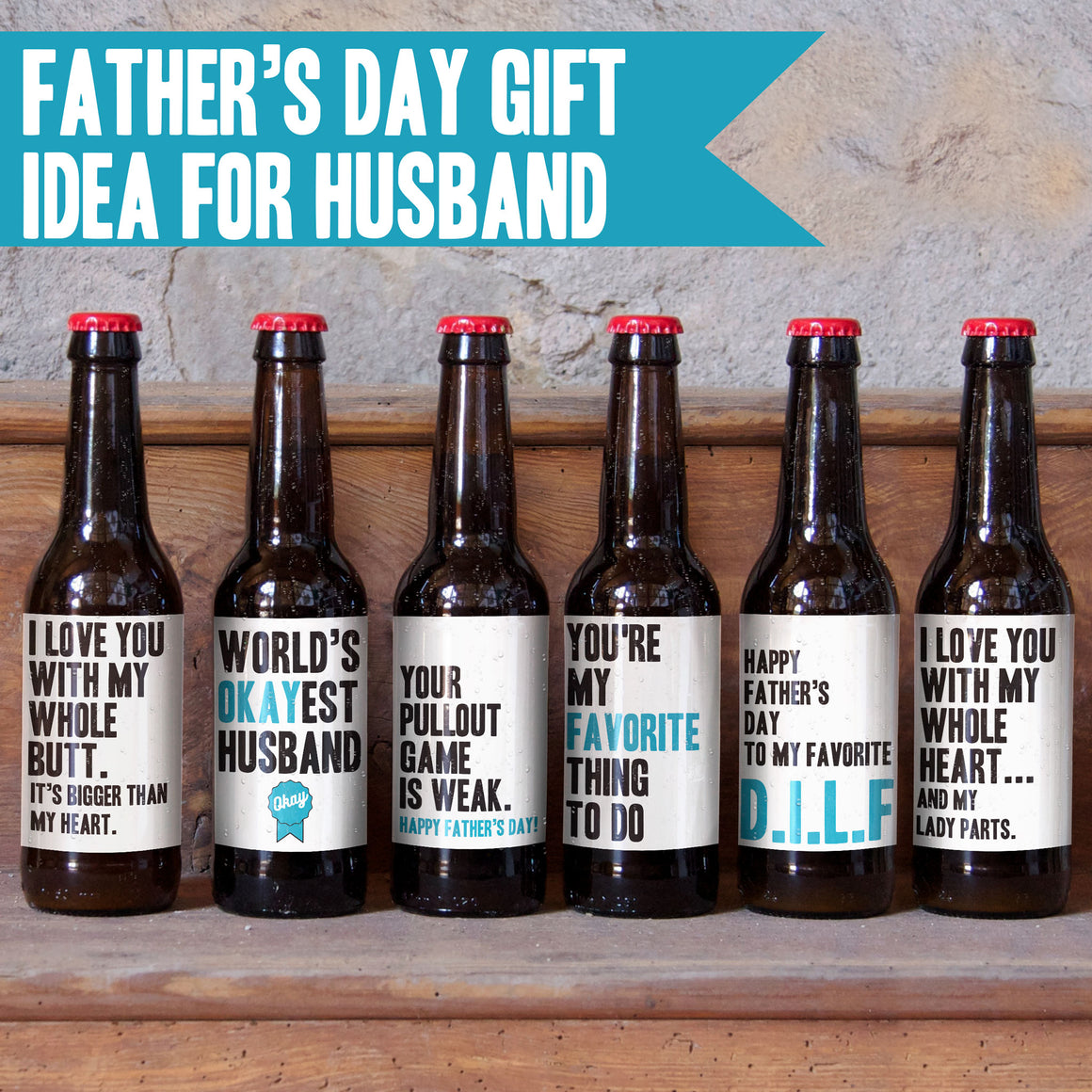 Father's Day Beer Labels for Husband - 6 Pack