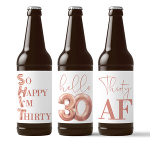 30th Birthday Rose Gold Balloons Beer Labels - 6 Pack