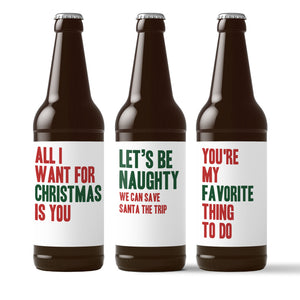 Naughty Holiday Beer Labels for Him - 6 Pack