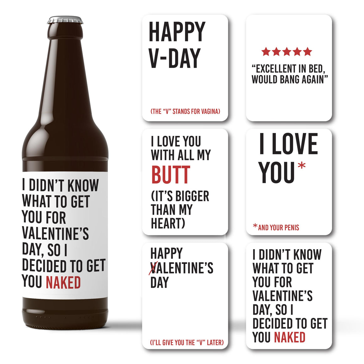 Naughty Valentine's Day Beer Labels - 6 Pack
