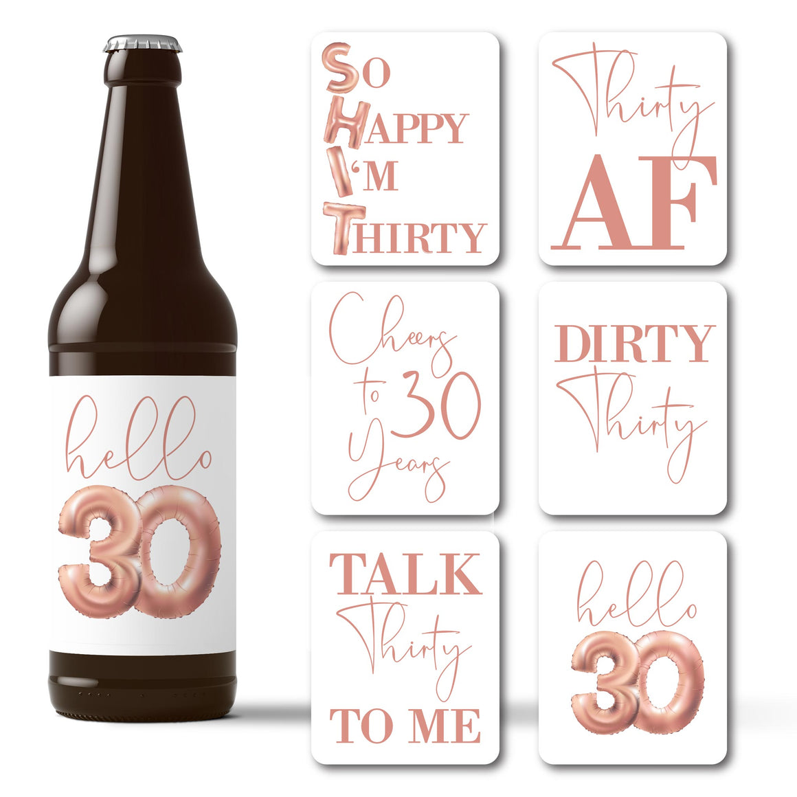 Dirty 30 Birthday Rose Gold Balloons Beer Labels - 6 Pack