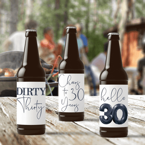 Dirty 30 Birthday Black Balloons Beer Labels - 6 Pack