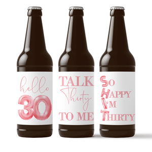 Dirty 30 Birthday Pink Balloons Beer Labels - 6 Pack