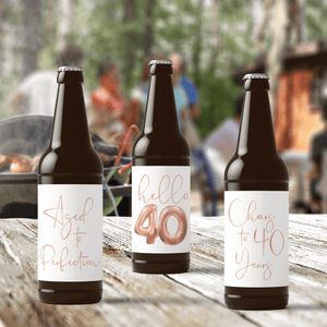 40th Birthday Rose Gold Balloons Beer Labels - 6 Pack