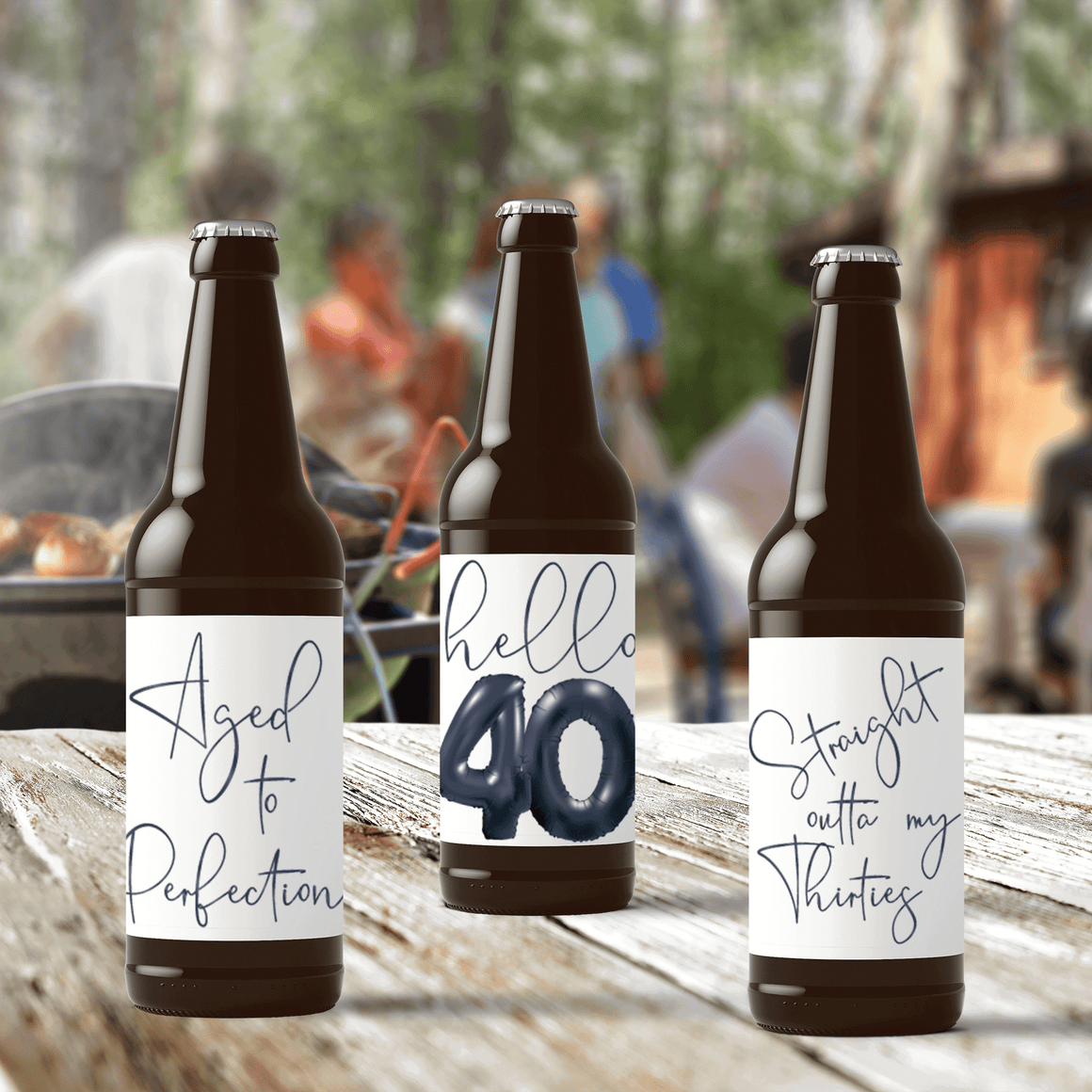 40th Birthday Black Balloons Beer Labels - 6 Pack