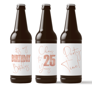 25th Birthday Rose Gold Balloons Beer Labels - 6 Pack