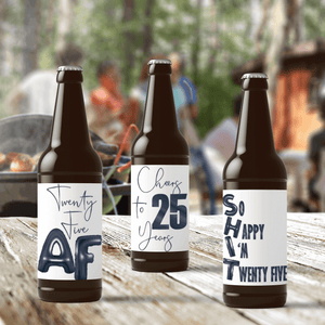 25th Birthday Black Balloons Beer Labels - 6 Pack