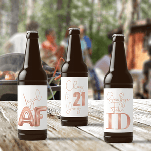 21st Birthday Rose Gold Balloons Beer Labels - 6 Pack