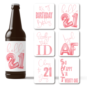 21st Birthday Pink Balloons Beer Labels - 6 Pack
