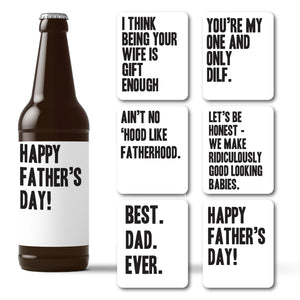 Father's Day Cheeky Beer Labels for Husband - 6 Pack