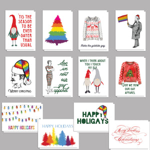 LGBT Holiday Cards Gay Pride Christmas Greetings - 24 Pack