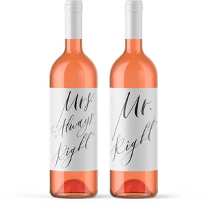 Wedding Gift Wine Bottle Labels - Mr. Right & Mrs. Always Right Funny Wine Bridal Shower Gift Wedding Present Couple Bride Groom Gift 9277