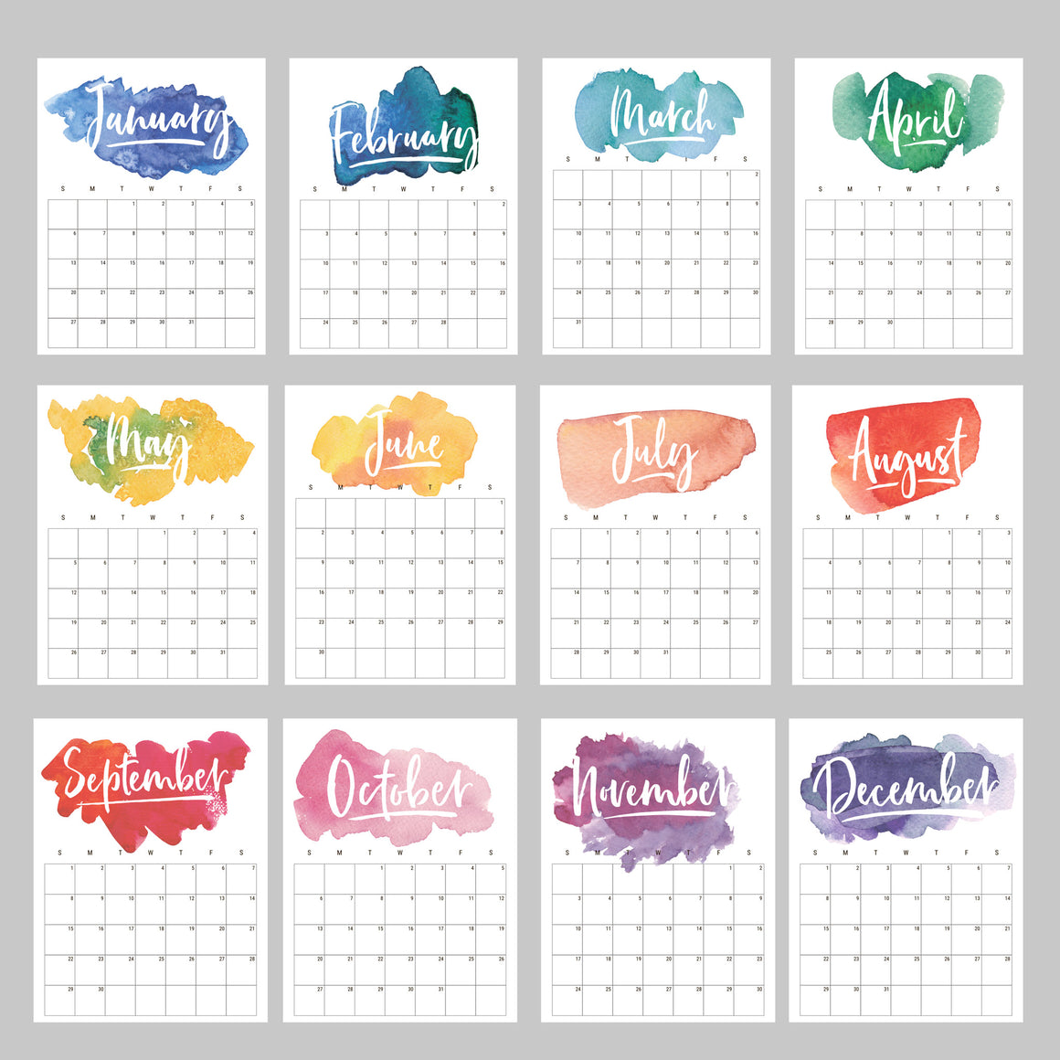 2020 Rainbow Watercolor Calendar