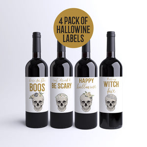 Halloween Wine Labels Happy Hallowine - 4 Funny Halloween Party Decor Here For Boos Pretty Skulls Resting Witch Face Wine Bottle Labels 9270