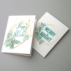Watercolor Green Gold Christmas Cards - 24 Pack