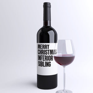 Merry Christmas Inferior Sibling Wine Label