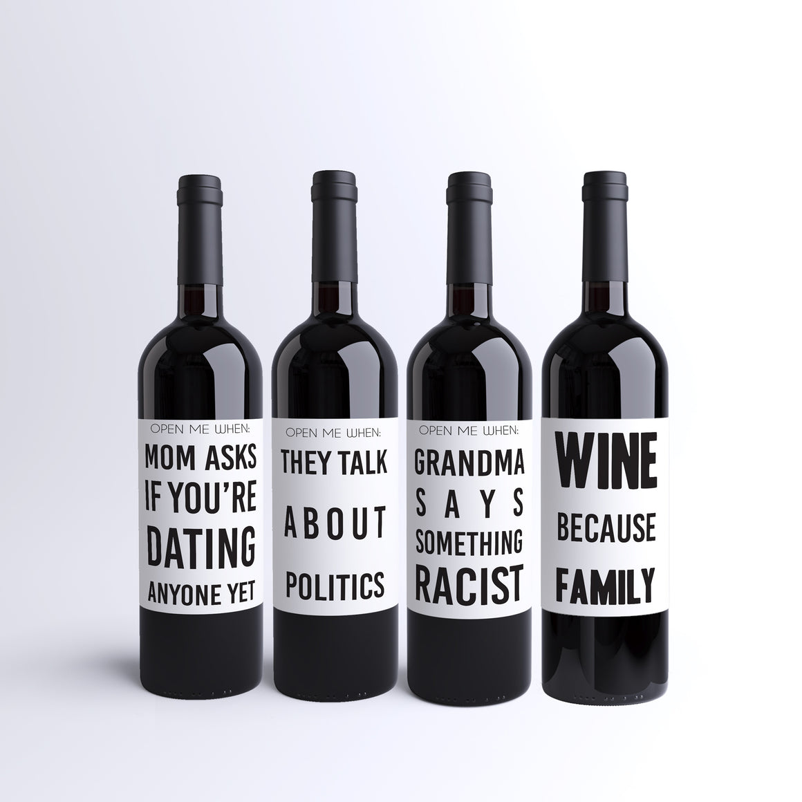 Funny wine labels to survive family dinner at holidays