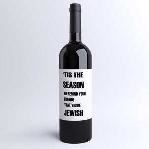 Jewish Christmas Survival Pack Wine Bottle Labels | 4 Pack